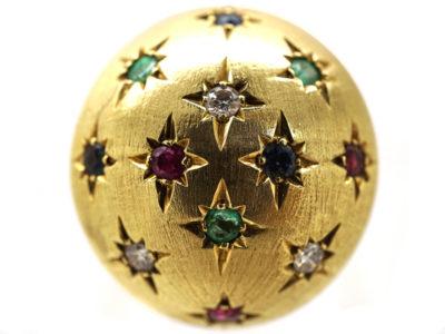 Multi Gem 18ct Gold Retro Ring