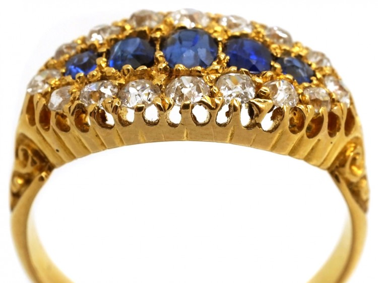 287acb216bb8b Victorian 18ct Gold Boat Shaped Sapphire Diamond Ring - The Antique  Jewellery Company
