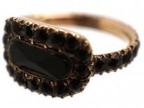 Gold & Vauxhall Glass Georgian Mourning Ring