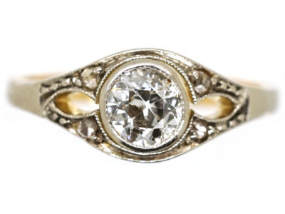 Art Deco 14ct Gold ​& Diamond Solitaire Ring