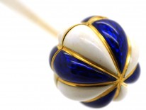 Victorian 18ct Gold , Blue & White Enamel  Opening Balloon Stick Pin