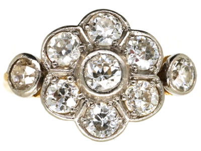 Edwardian Diamond Cluster Ring With Diamond Set Shoulders