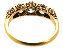 Victorian 18ct Gold Carved Half Hoop Five Stone Diamond Ring