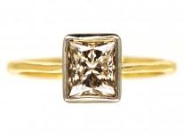 18ct Gold Rectangular Cognac Diamond Ring