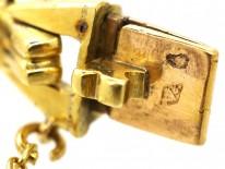 French Art Deco 18ct Gold & Cabochon Sapphire Bracelet