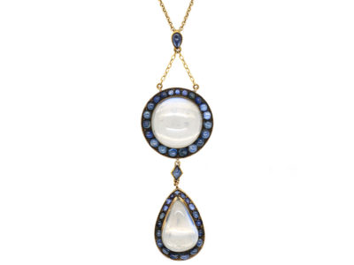 Art Deco Large 15ct Gold & Moonstone ​& Sapphire Pendant on 15ct Gold Chain