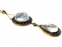 Art Deco Large 15ct Gold & Moonstone & Sapphire Pendant on 15ct Gold Chain
