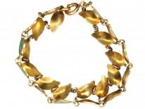 Silver Gilt Green Enamel Laurel Leaf Design Bracelet