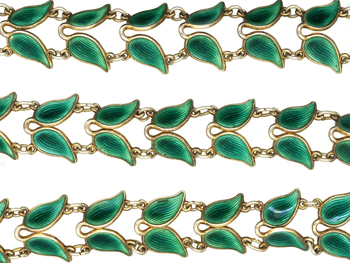 Silver Gilt Green Enamel Laurel Leaf Design Necklace