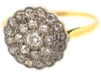 Edwardian 18ct Gold & Diamond Cluster Ring