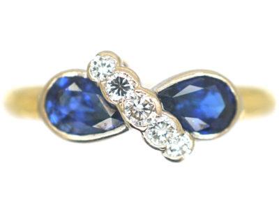 18ct Gold, Sapphire & Diamond Crossover Ring