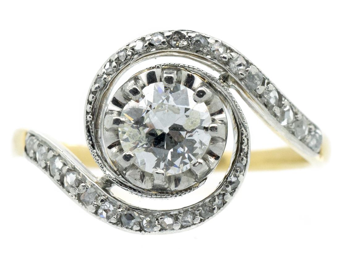 Art Nouveau 18ct Gold, Platinum & Diamond Swirly Ring