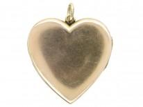 Edwardian 15ct Gold Heart locket With Sapphire & Diamond Detail