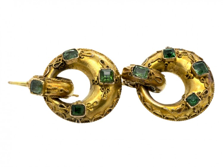 Victorian 15ct Gold Hoop Earrings Set with Emeralds