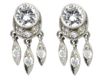 Edwardian Diamond Stud Fringe Earrings