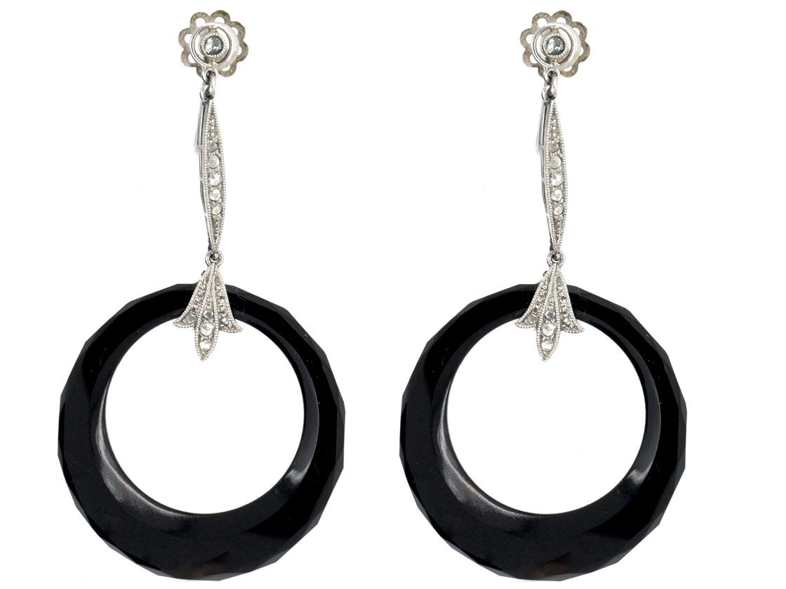 Art Deco Onyx & Diamond Platinum Drop Hoop Earrings