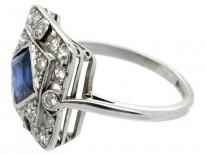 Art Deco Platinum & Natural Burmese Square Sapphire Ring