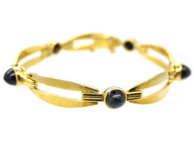 French Art Deco 18ct Gold ​& Cabochon Sapphire Bracelet