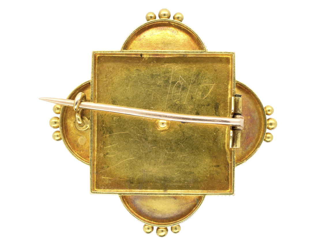 Victorian 18ct Gold Cannetille Work Brooch Set With Rubies & Natural Pearls