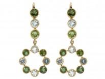 Edwardian 18ct Gold Peridot & Aquamarine Drop Earrings