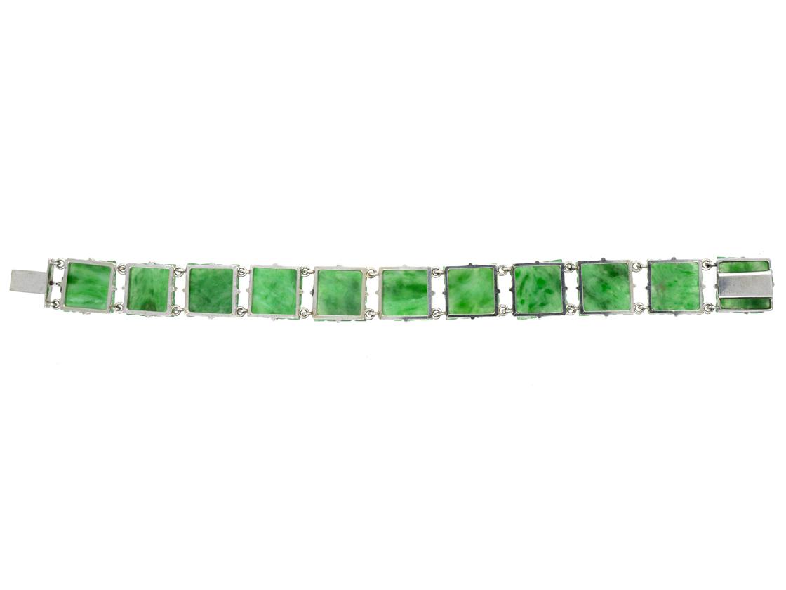 Carved Natural Jade Plaque Bracelet