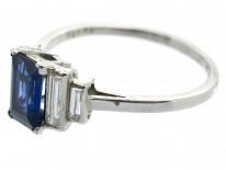 Art Deco Sapphire & Diamond Platinum Ring