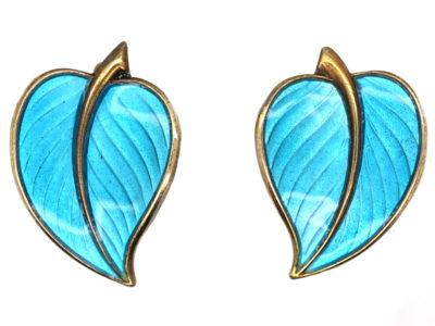 Silver Gilt & Blue Enamel Leaf Earrings by Hans Myhre