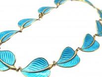 Silver Gilt & Blue Enamel Leaf Necklace by Hans Myhre