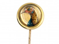 Victorian 18ct Gold Rock Crystal Reverse Intaglio Tie Pin of a Pheasant