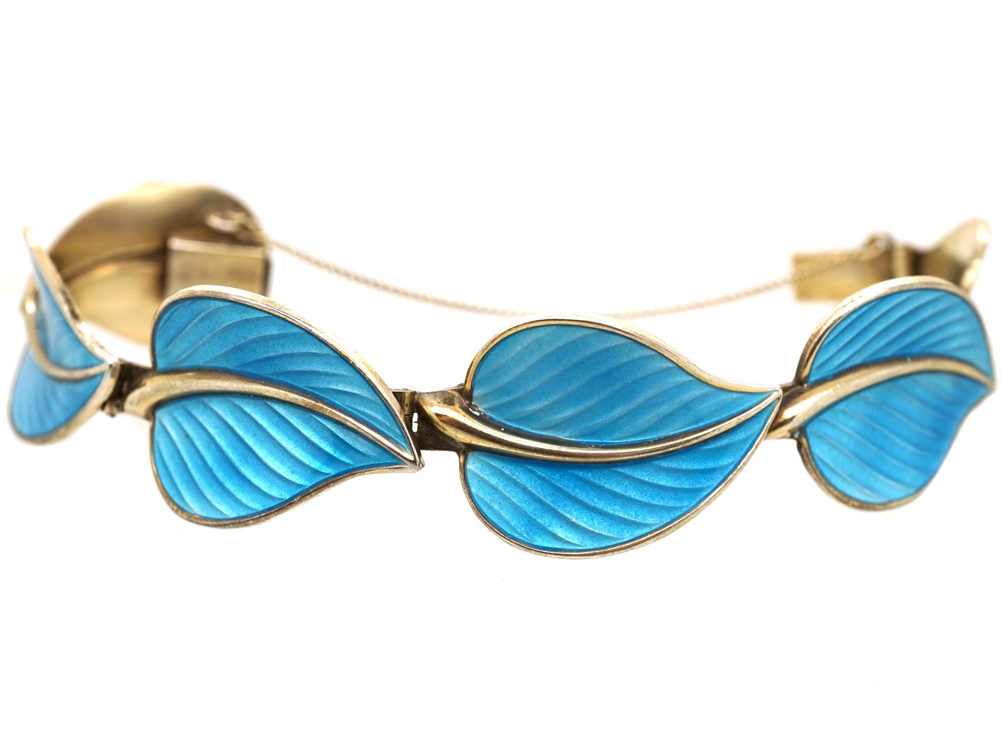 Silver Gilt & Blue Enamel Leaf Bracelet by Hans Myhre