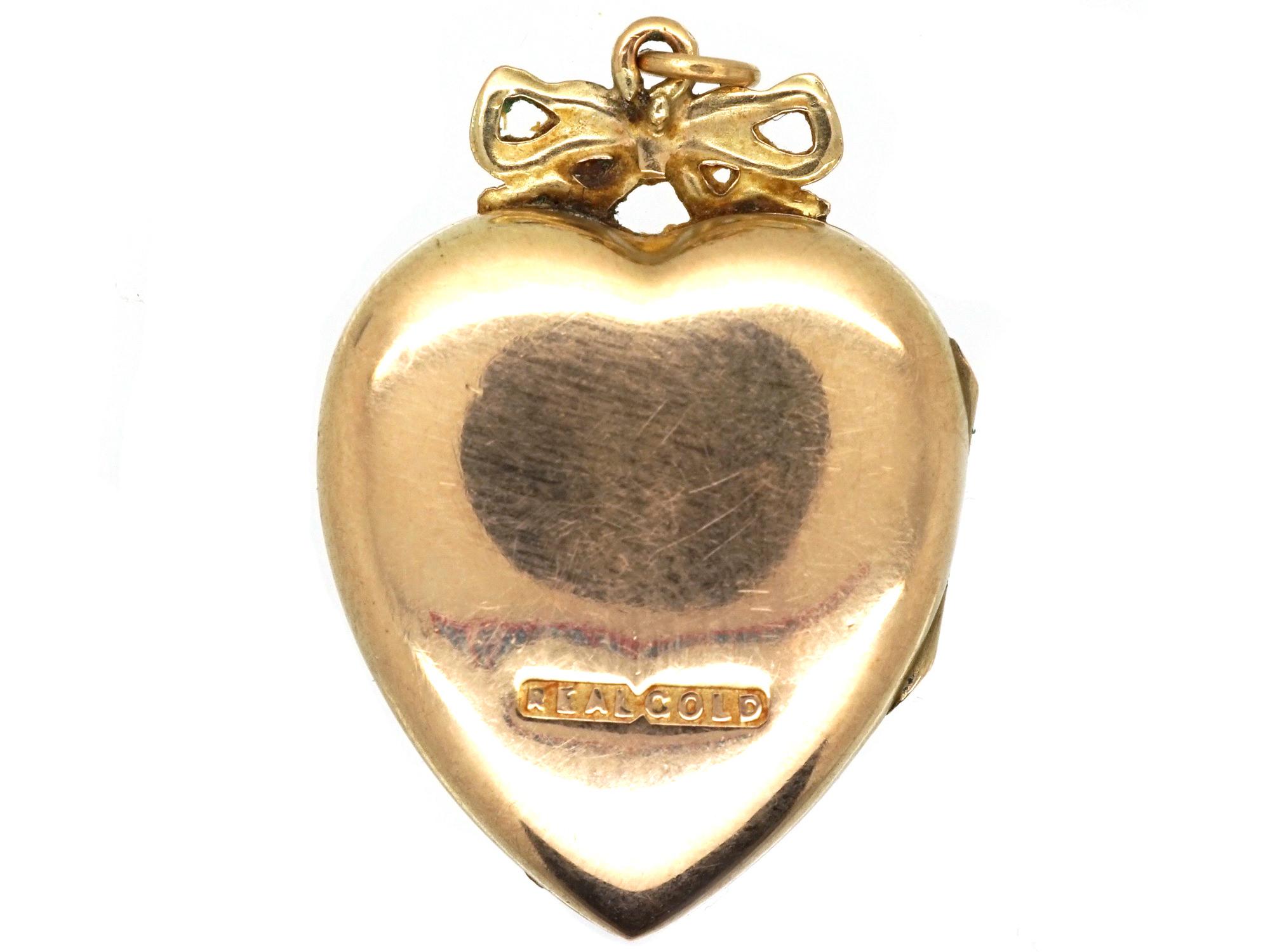 Edwardian 9ct Gold Heart Locket Set With a Rose Diamond