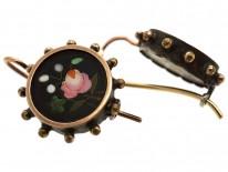 Victorian Silver & Gold Pietra Dura Earrings