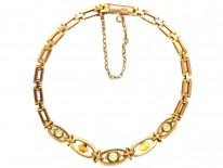 Edwardian Peridot & Pearl 15ct Gold Bracelet
