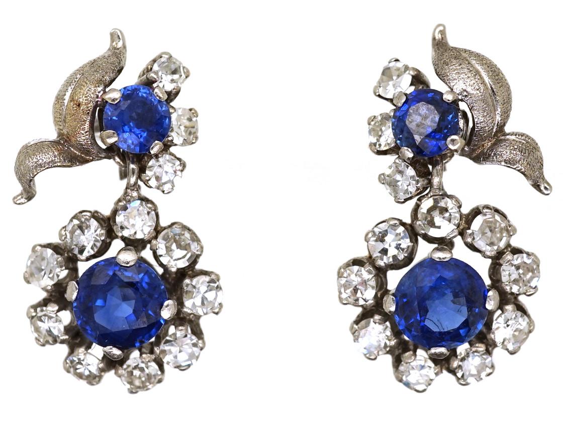 Sapphire & Diamond Drop Cluster Earrings