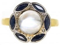 Art Deco 14ct Gold, Sapphire, Rose Diamond & Moonstone Ring