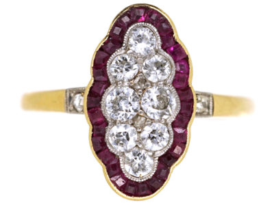 Art Deco 18ct Gold, Platinum, Ruby ​& Diamond Scallop Design Ring