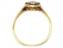 Art Deco 18ct Gold, Platinum, Ruby & Diamond Scallop Design Ring
