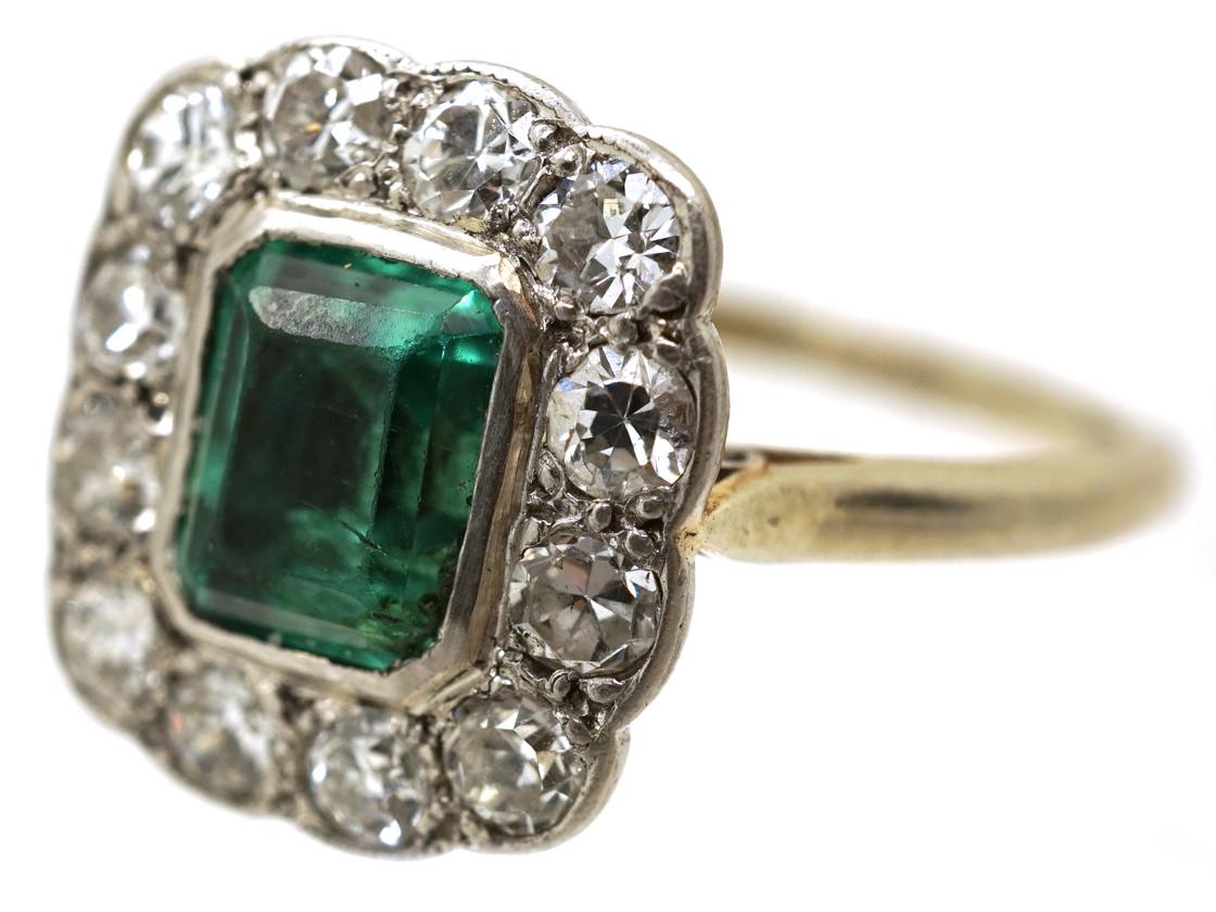 18ct Gold & Platinum, Columbian Emerald & Diamond Rectangular Ring