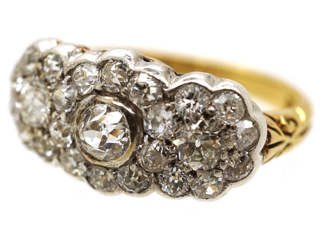Edwardian 18ct Gold, Platinum & Diamond Triple Cluster Ring