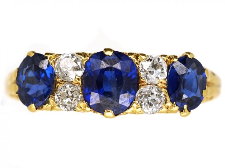 Victorian 18ct Carved Half Hoop Sapphire & Diamond Three Stone Ring