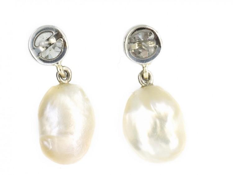18ct White Gold, Natural Pearl & Diamond Earrings