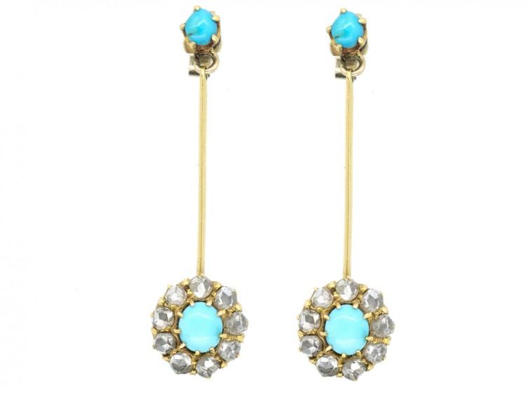 Edwardian 18ct Gold, Turquoise & Diamond Drop Cluster Earrings