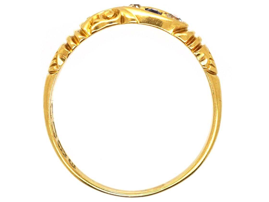 Victorian 18ct Gold Sapphire & Diamond Twist Ring