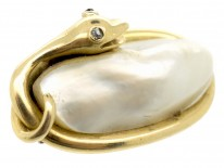 Victorian 15ct Gold Coiled Snake Brooch Set With a Blister Pearl
