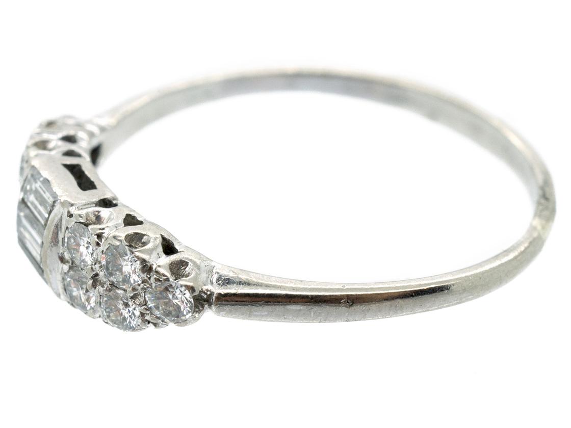 Art Deco 18ct White Gold Baguette Diamond Ring
