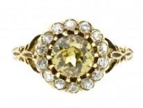 18ct Gold Yellow Zircon & Diamond Cluster Ring
