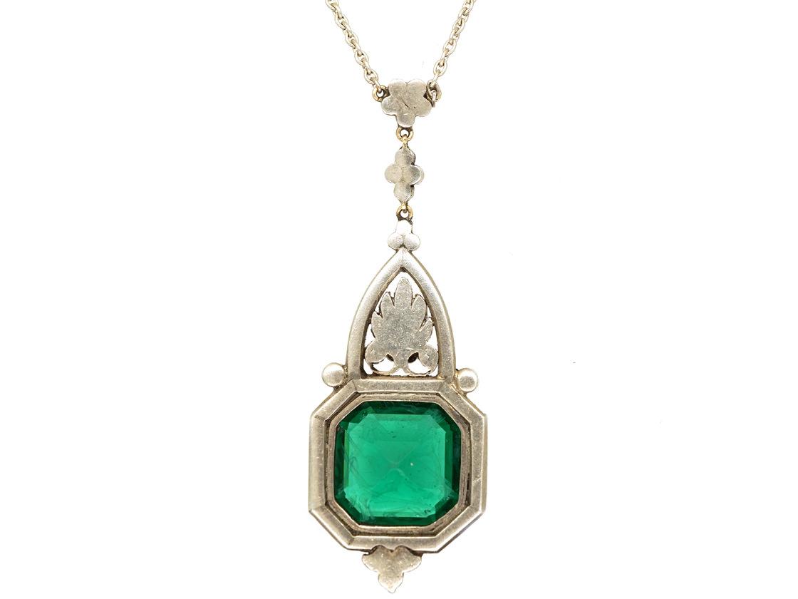 Art Deco Silver, Green Paste & Marcasite Pendant on Chain