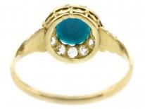 Edwardian 18ct Gold, Turquoise & Diamond Cluster Ring