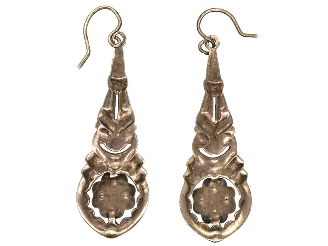 Art Deco Silver & Marcasite Drop Earrings