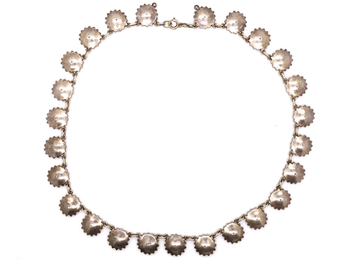 Silver & Marcasite Flower Motif Necklace